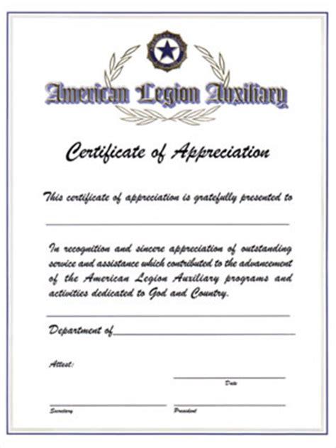 auxiliary certificate of appreciation american legion
