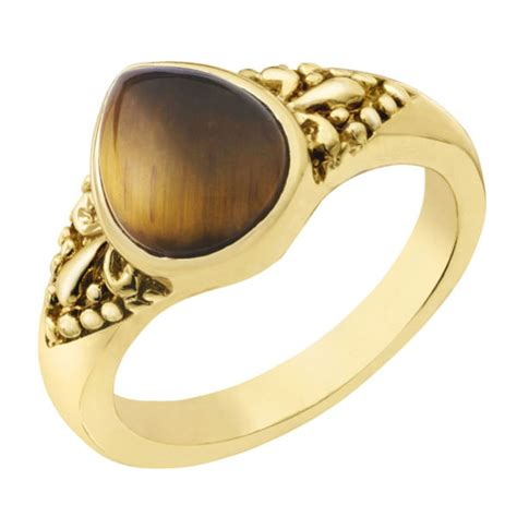 gold plated pear shaped tiger eye ring iwoot