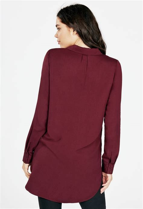 Omona Tunic zip tunic blouse in oxblood get great deals at justfab