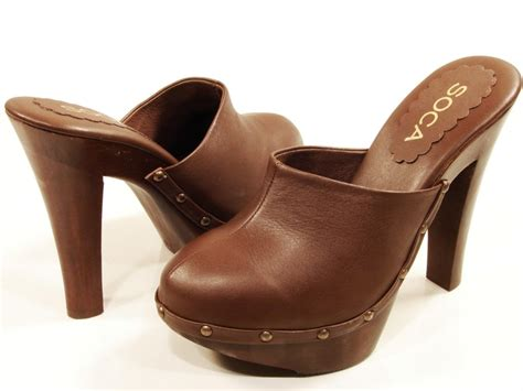 high heel clogs for womens soca high heel wooden platform clogs brown ebay