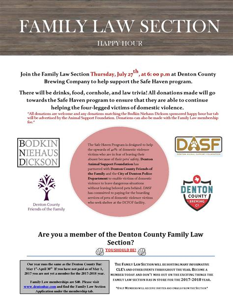 Family Law Section Happy Hour And Fundraiser To Benefit