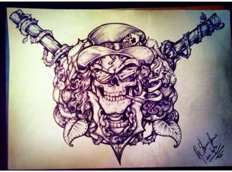 slash rose tattoo guns n roses slash design by misstangshan95 on
