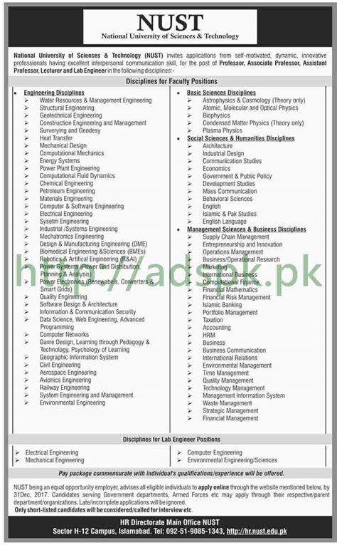 Nust Executive Mba Admission 2017 by Nust Islamabad 2018 Professor Associate