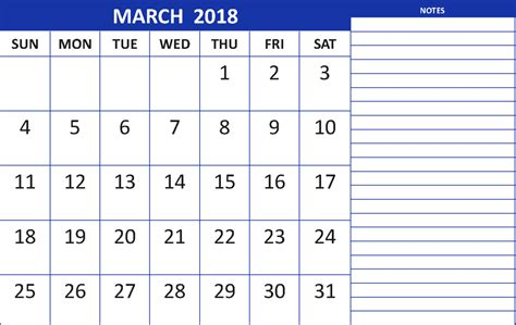 printable calendar 2018 with notes march 2018 calendar with notes printable calendar