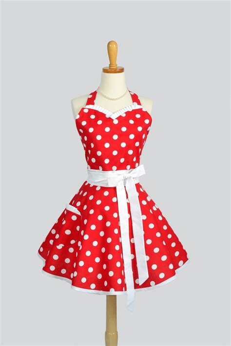 Handmade Aprons - sweetheart retro apron kitchen apron handmade in