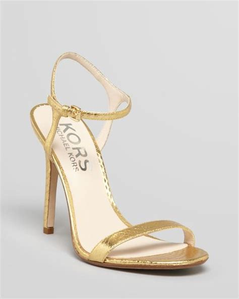 michael kors high heel sandals kors by michael kors sandals mikaela high heel in gold lyst