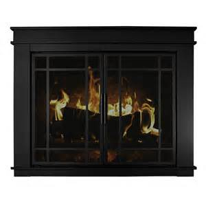 Pleasant Hearth Glass Fireplace Doors Shop Pleasant Hearth Midnight Black Large Cabinet Style Fireplace Doors With Smoke Tempered