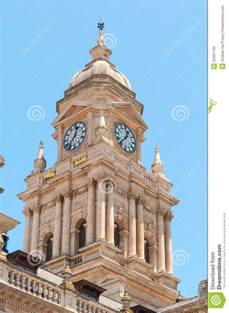 Balcony Speech by Clock Tower Of City Hall In Cape Town South Africa Stock
