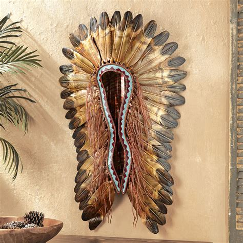 Native American Indian Home Decor Turquoise Amp Red Headdress Wall Hanging