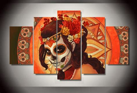 framed pictures canvas prints sugar skull day of the dead