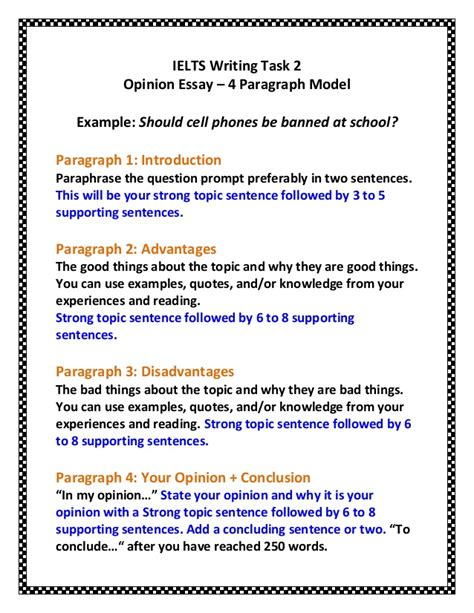 how to write an opinion paper ielts task 2 opinion essay 4 paragraph model updated