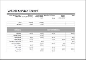 Vehicle Service Template by Vehicle Maintenance Log Excel Templates