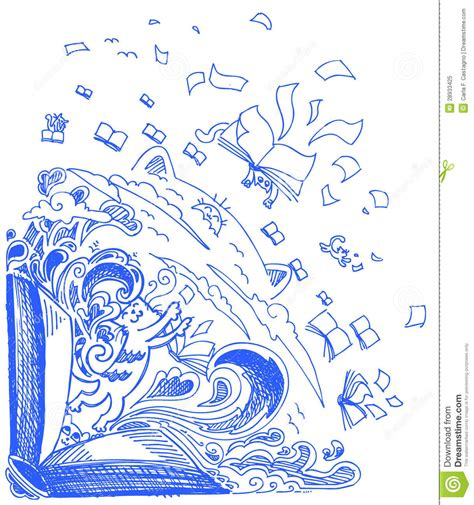 doodle drawing book blue sketch doodles cats and books royalty free stock