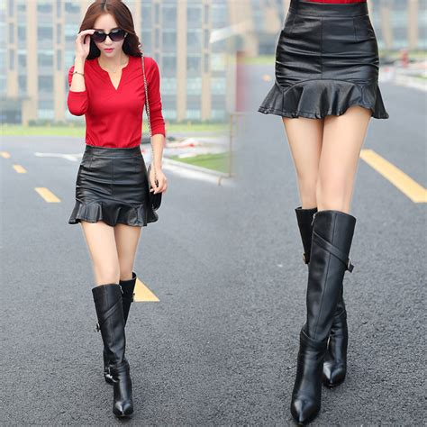Hem Asia Black black pu leather flared hem mini skirt xl