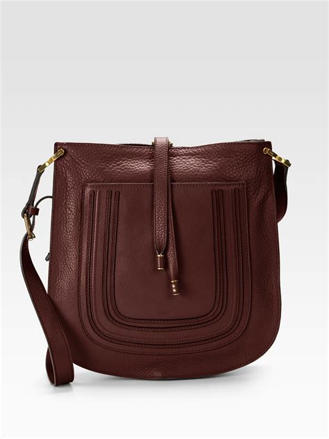 clay bag brown chlo 233 marcie new leather messenger bag in brown clay lyst