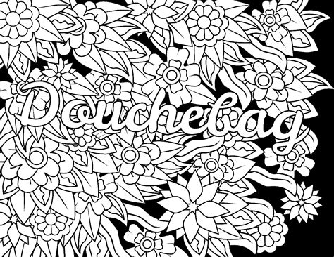 coloring pages for adults words douchebag swear word coloring page adult coloring page