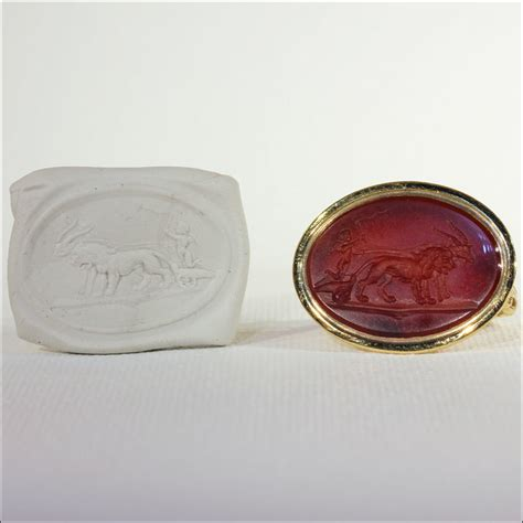antique ring carnelian carved intaglio in 12k