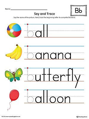 trace letter  beginning sound words worksheet
