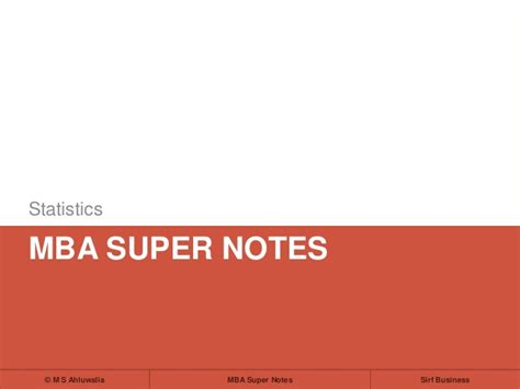Statistics Mba by Mba Notes Statistics Data