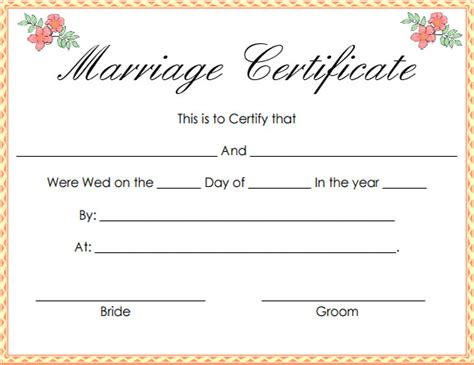 printable marriage certificate template certificate of marriage pdf