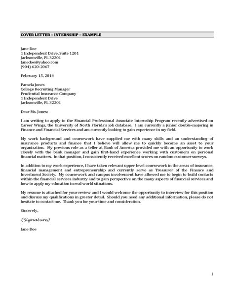 cover letter for internship sle cover letter