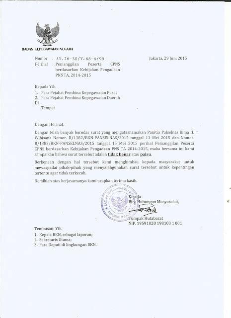 contoh surat palsu pengadaan cpns tahun 2014 s d 2015