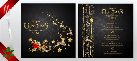 free new year menu template black with new year menu template vector 01
