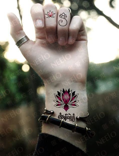lotus sanskrit temporary tattoos for men women by