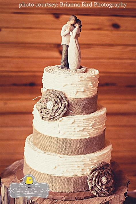 burlap wedding cake handmade burlap ruffle flower with