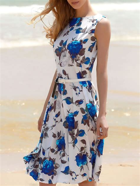 Print Sleeveless A Line Midi Dress blue s floral print a line sleeveless midi dress rosegal