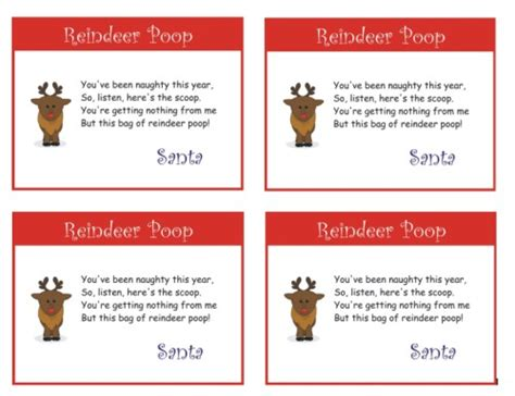 printable reindeer poop tags reindeer dust poem template new calendar template site