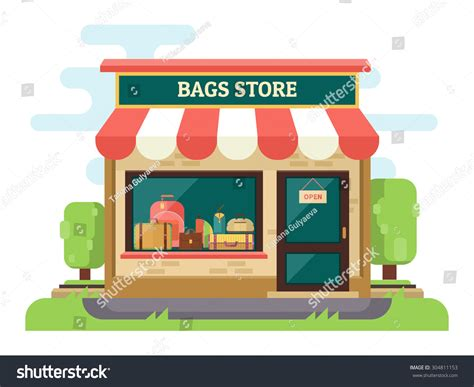 store layout vector bags suitcases store boutique facade store stock vector