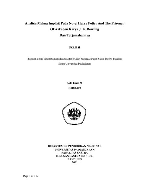 Pdf Analisis Makna Implisit Pada Novel Harry Potter And The