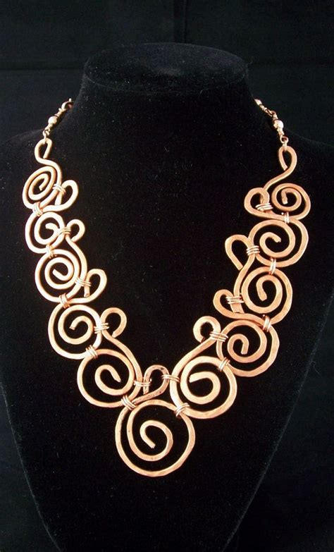 Handmade Metal Jewelry Ideas - hammered copper collar style necklcase handmade wire