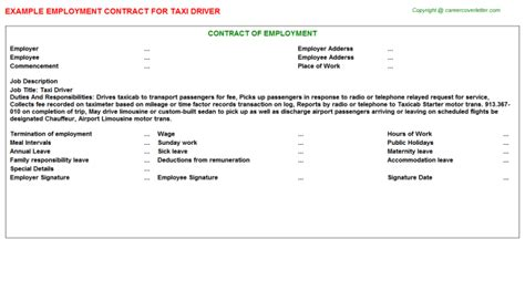 Taxi Driver Cover Letter by Taxi Driver Employment Contract Sle