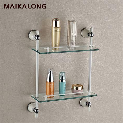 Bathroom Accessories Glass Shelf Bathroom Accessories Golden Finish With Tempered Glass Glass Shelf Bathroom Shelf In