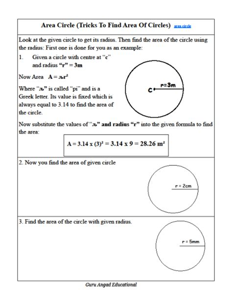 printable worksheets for area of a circle finding circumference of a circle worksheet free