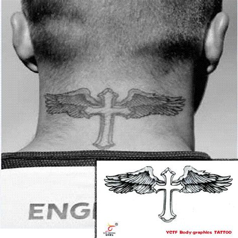 tattoo beckham cruz temporary tattoos neck back body cross wings men makeup