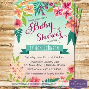 tropical baby shower invitation island flowers hawaiian luau baby shower invite boy