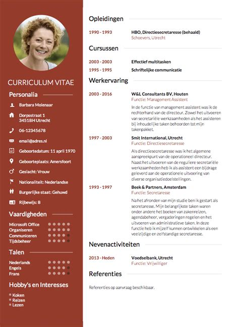 S Op Resume by Cv Opstellen Invullen En Direct Je Cv Downloaden Cv Nl