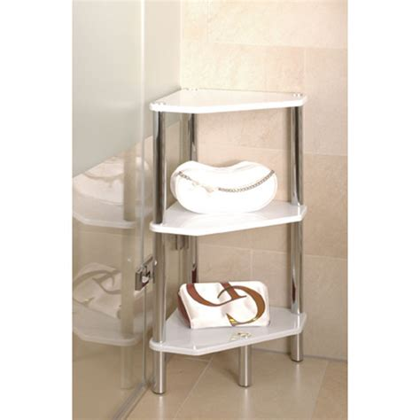 Corner Bathroom Storage Unit 3 Tier High Gloss White Corner Display Unit 90346 5036