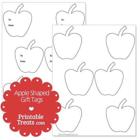 printable apple name tags tag shapes outline images