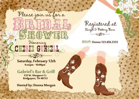 country style bridal shower ideas cowboy boot s bridal shower printable invitation western