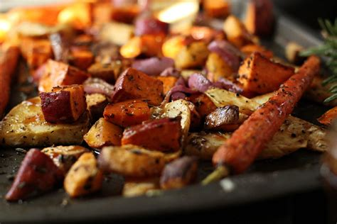 baked root vegetables roasted vegetables recipe dishmaps