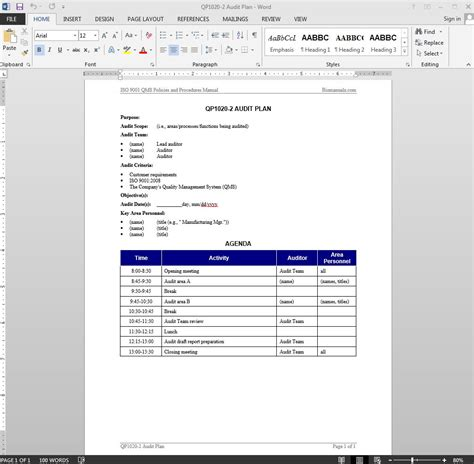 Audit Agenda Template audit plan iso template