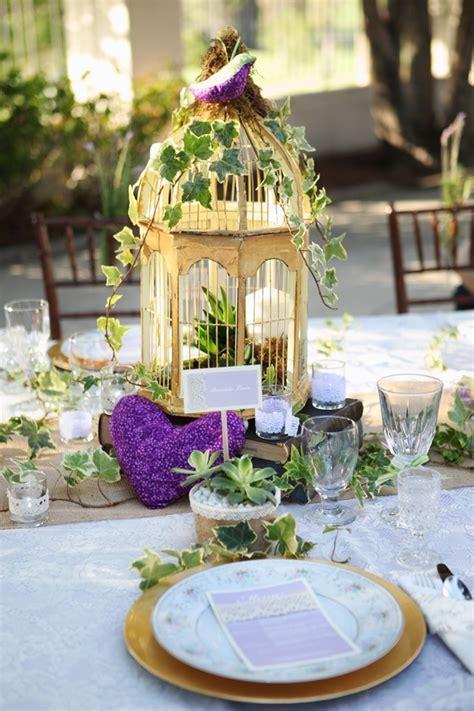 bird cage centerpiece purple wedding aawpa vintage