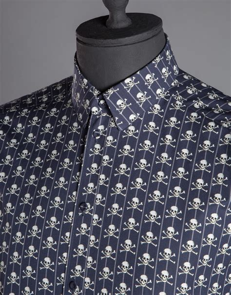 Stussy Middle Block Bowling Shirt lyst dolce gabbana skull print poplin gold fit shirt in blue for