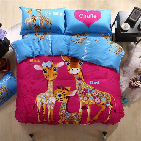 Giraffe Bed Set New The Giraffe Family Quilt Cover Bed Sheet Set For