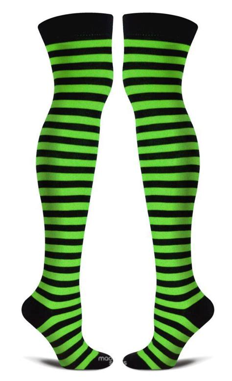 witch s garden socks green and black striped socks thigh high knee womens