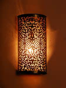Battery Sconce Light Moroccan Brass Wall Light Sconce And Its Fine Openwork